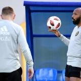 Thierry Henry en el entrenamiento de Bélgica.