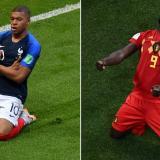 Kylian Mbappé, delantero de Francia; Romelu Lukaku, delantero de Bélgica.