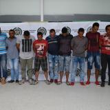Los presuntos delincuentes capturados por la Fiscalía y la Policía del Atlántico.