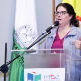 Alejandra Barrios, directora nacional de la MOE, durante el evento.