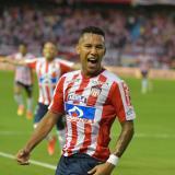 James Sánchez celebrando el gol que le marcó a las Águilas Rionegro.