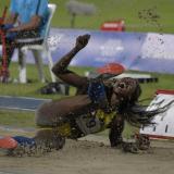 Uno de los saltos de Caterine Ibargüen en su participación en los Juegos Centroamericanos en Barranquilla.