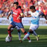 Germán Ezequiel Cano enfrentado al Junior, en el juego de vuelta de la final de la Liga Águila II 2018.