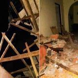 Por fuertes brisas se desploma pared de edificio en el barrio Olaya