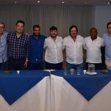 El senador Arturo Char acompañado del candidato a la Alcaldía Jaime Pumarejo, el representante a la Cámara, César Lorduy, los diputados Adalberto Llinás, Jorge Rosales y Gersel Pérez, al igual que Jaime Berdugo, exdirector del Área Metropolitana de Barranquilla.