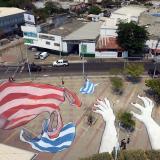 Imagen captada con un dron de la obra de Ella y Pitr en la estación Joe Arroyo de Transmetro.