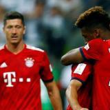 Lewandowski (izquierda) y Coman (derecha) durante la celebración de un gol del Bayern Munich.