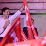 Pedro Sánchez durante un mitin electoral en Madrid después de que España celebrara ayer sus elecciones generales.