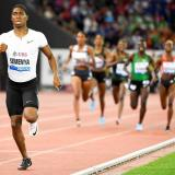 La atleta Caster Semenya (i) momentos antes de ganar en los 800 metros femeninos de la Liga de Diamante en Zúrich.