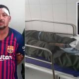 Joe Marrugo López, el presunto agresor. En la camilla, el policía lesionado.