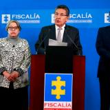 María Pauilna Riveros, ex vicefiscal; Néstor H. Martínez, ex  fiscal general,  y  Fabio Espitia, fiscal (e), el  15 de mayo, día de la renuncia.