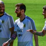 Sergio Aguero, Lionel Messi and Rodrigo De Paul.
