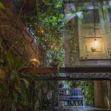 Aspecto de Casa Manoa desde el gran corredor descubierto y adornado con plantas colgantes.