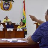 El concejal Ospina explica el proyecto en la plenaria.