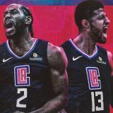 Kawhi Leonard y Paul George con la camiseta de los Clippers