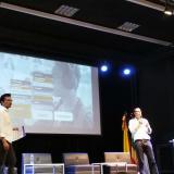 Rodrigo Romero y David Melo durante su intervención en el centro de conferencias de la Universidad de la Costa en Barranquilla.