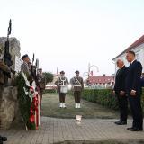 Los presidentes de Alemania y Polonia durante la ceremonia realizada ayer en Wielun.