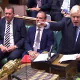 El primer ministro británico, Boris Johnson, en un debate de emergencia sobre un Brexit sin acuerdo en la Cámara de los Comunes en Londres.