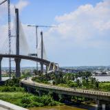 Vista de los dos puentes sobre el Río Magdalena que unen a Barranquilla con Sitonuevo.