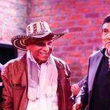 El presidente del festival Félix Lafourie, el maestro Adolfo Pacheco y Poncho Zuleta durante el lanzamiento en Bogotá de festival,