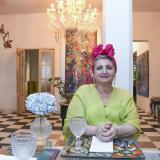 María Emilia Fadul en su restaurante y galería.
