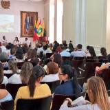 Martha Elena Mogollón, Cinthya Pérez, Carlos Almanza Agámez y Jair Baleta Iriarte, durante el panel 'Compromiso de la Responsabilidad Social desde la Extensión Universitaria'.