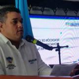 El alcalde Juan Carlos Suaza,en medio de su rendición de cuentas en Riohacha.