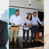 Carlo Villamil, country manager Motorola Colombia; Daniel Echeona, Vanessa Pieñeres y Mauricio Ucrós en la apertura de WeWork y Grace Fajardo, ASM Millennial Colombia