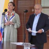 Marta Lucía Ramírez, vicepresidenta, y Camilo Gómez, director de Andje, durante el anuncio.