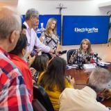 La Agente Especial de Electricaribe, Ángela Patricia Rojas Combariza, durante su intervención en la ruda de prensa.