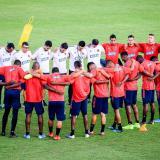 La Selección Colombia reunida previo a una práctica.