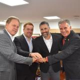 Ramón Jesurun, presidente de la FCF; Iván Novella, director de desarrollo de la selecciones Colombia; Mario Yepes, nuevo director deportivo de la FCF; y Carlos Queiroz, entrenador del combinado de mayores.