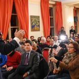 Juan Guaidó durante un encuentro en París.
