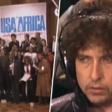 "Bob Dylan durante su participación en la canción ""We are the world""."