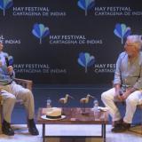 Conversatorio entre Héctor Abad Faciolince y Fernando Trueba en el Hay Festival de Cartagena.