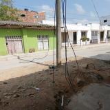 Poste quedó atravesado en la mitad de una vía en el centro de Montería