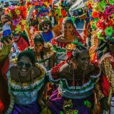 Baile de los integrantes del Congo Espejo de Carrizal en La Conquista, 2018.