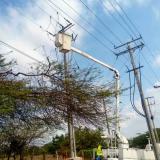 Personal de Electricaribe durante labores de mantenimiento de redes eléctricas.