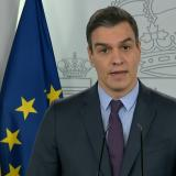 Pedro Sánchez, durante su comparecencia ante la prensa hoy sábado en Moncloa, en Madrid.