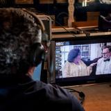 Instante de grabación de la serie de Telecaribe 'La invencible Esther'.