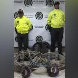 Policía recupera más de 180 kilos de cable de cobre y aluminio hurtados