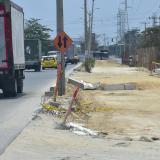 Aspecto de obras en la calle 30 de Barranquilla, las cuales están paralizadas.