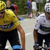 Chris Froome junto a Nairo Quintana durante una competencia.