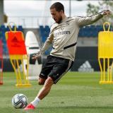 El centrocampista belga Eden Hazard, entrenando con el Real Madrid.