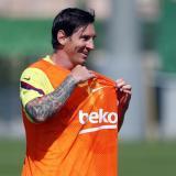 Messi durante un entrenamiento con el Barcelona.