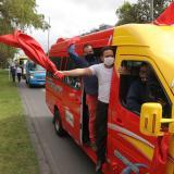 Los transportadores se movilizaron para solicitar ayudas al Gobierno.