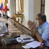 Aspecto de la visita de la Contraloría General al alcalde de Cartagena, William Dau.