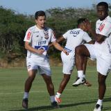 Carmelo Valencia durante un entrenamiento con Junior.