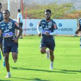 Fabián Viáfara encabezando un entrenamiento de principio de temporada junto a Dany Rosero, 'Cariaco' González y Carmelo Valencia.