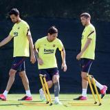 Lionel Messi durante un entrenamiento en el FC Barcelona.